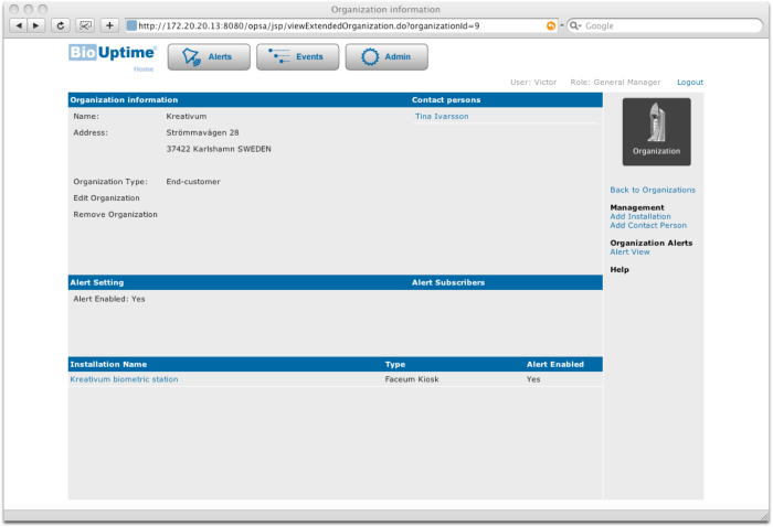BioUptime features: Organization View
